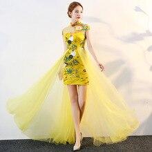 Sarı çin tarzı bayan düğün Cheongsam Retro seksi ince parti akşam elbise evlilik elbisesi Qipao moda bayan Vestido S 3XL