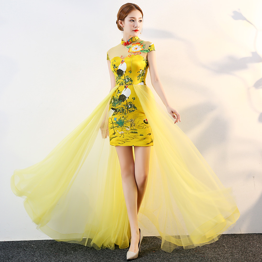 Yellow Chinese Style Womens Wedding Cheongsam Retro Sexy Slim Party Evening Dress Marriage Gown Qipao Fashion Lady Vestido S-3XL