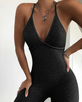 цена на Women Sleeveless Spaghetti Strap Casual 2020 Fashion Elegant Sexy Knitted V Neck Solid Ribbed Open Back Sleeveless Jumpsuit