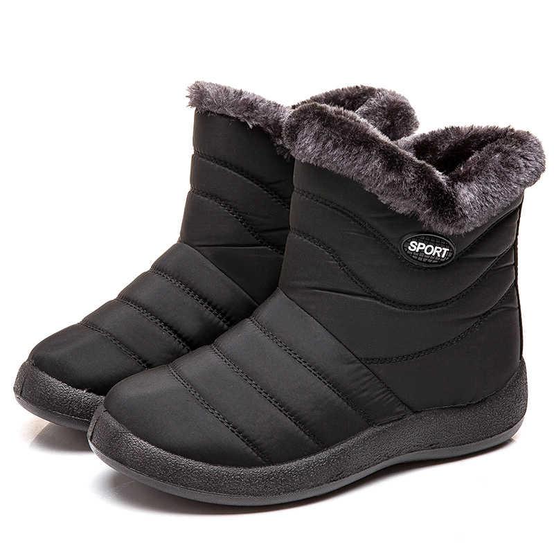 Botas para Mujer 2019 Botas de invierno con Tobillo acolchado Botas Mujer Cálido impermeable Botas de nieve zapatos de invierno Mujer Botines de talla grande 43
