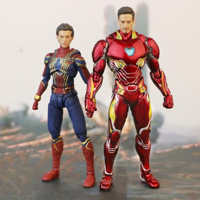 SHF Marvel Tony Stark Iron Man MK50 Statue Tom Holland Spiderman  Mark 85 MK85  Toys Model Doll The Avengers  Super Hero