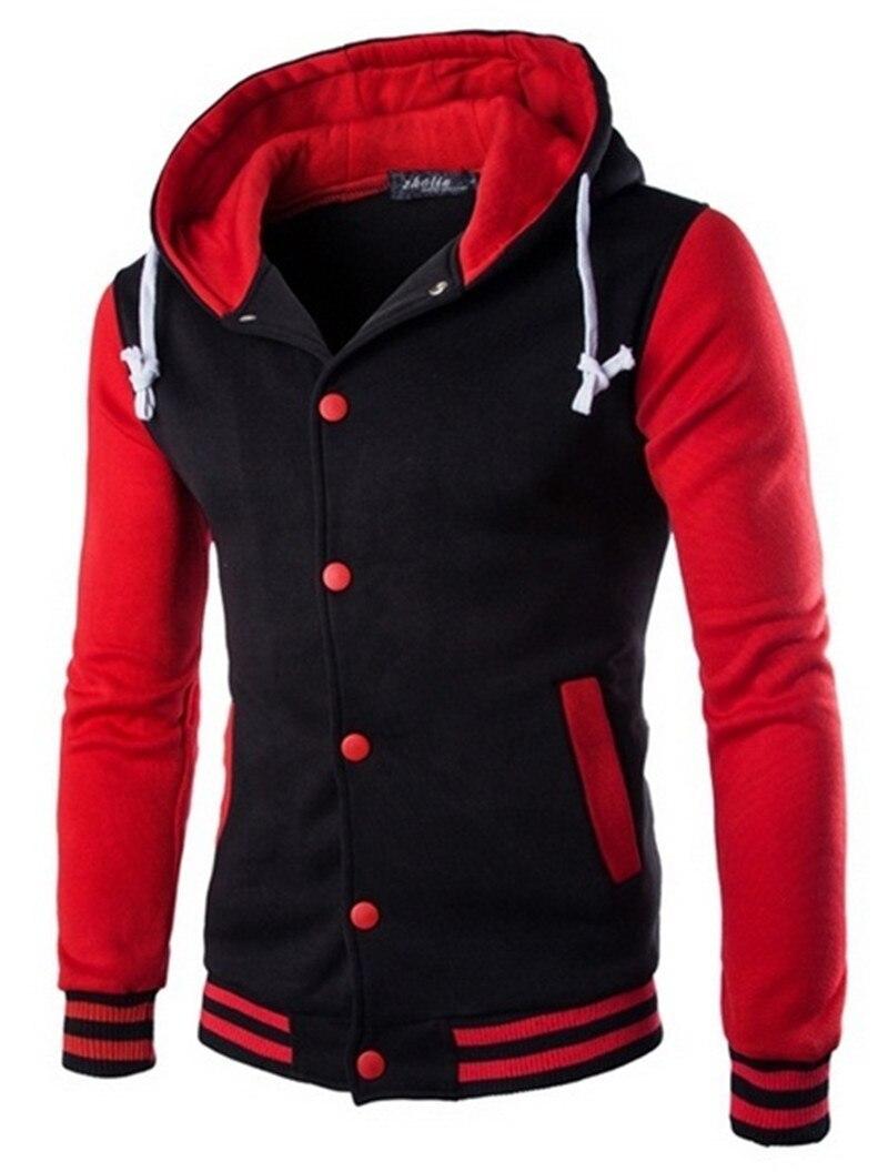 Spring New Men's Hoodies Baseball Uniform Loose Casual Sports Color Matching Raglan Sleeve Hooded Pullover Sweatshirt
