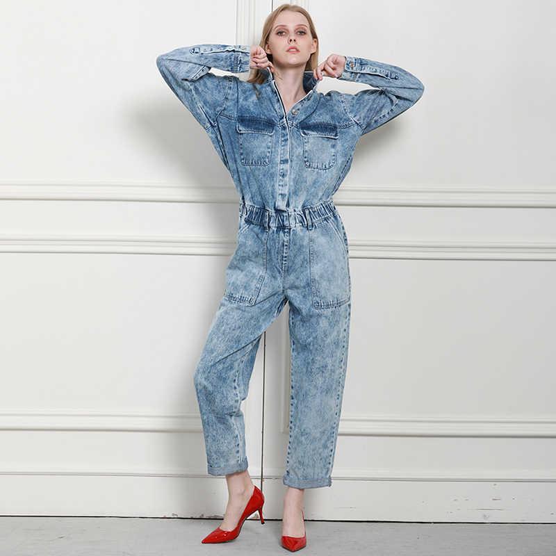 Осенне-зимний женский джинсовый комбинезон удобные женские джинсы из 100% хлопка