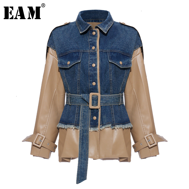 [EAM] Loose Fit Khaki Denim Leather Split Big Size Jacket New Lapel Long Sleeve Women Coat Fashion Tide Spring Autumn 2020 1K922
