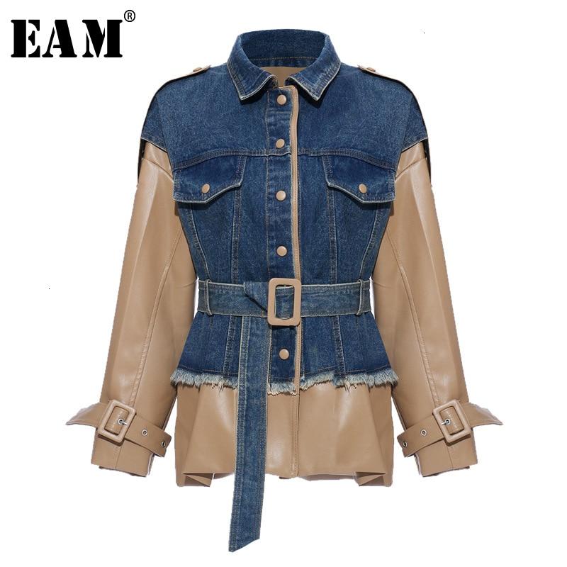 [EAM] Loose Fit Khaki Denim Leather Split Big Size Jacket New Lapel Long Sleeve Women Coat Fashion Tide Spring Autumn 2020 1K922