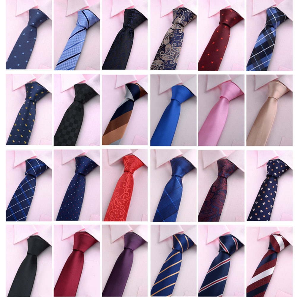 Gravatas Para Homens Slim Neckties For Men Tie 6cm Gifts Jacquard Striped Neck Tie Wedding Business Skinny Cravate Homme