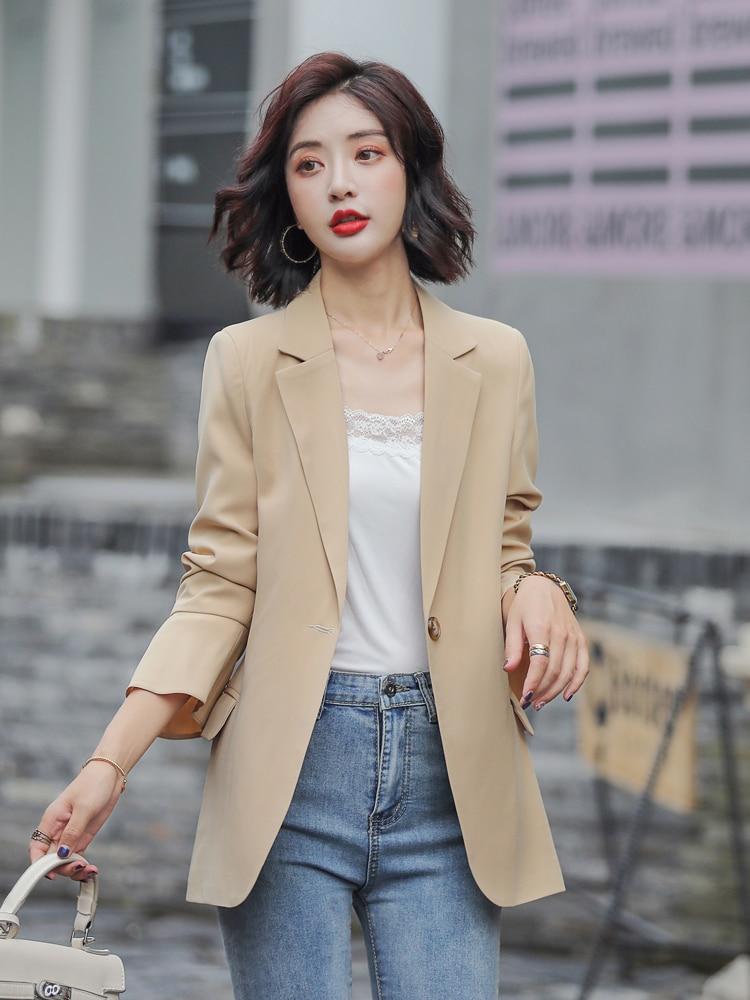 Korean Loose Ladies Blazer Beige Simple Casual Suit Jacket Long Sleeve Stylish Chamarras Mujer High Street Women Blazer MM60NXZ
