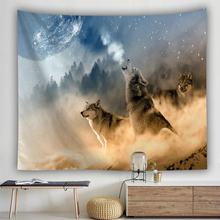 Animals Printed Tapestry Wall Hanging Wolf Pattern Background Cloth Tapestries Home Art Decoration for Living Room Bedroom
