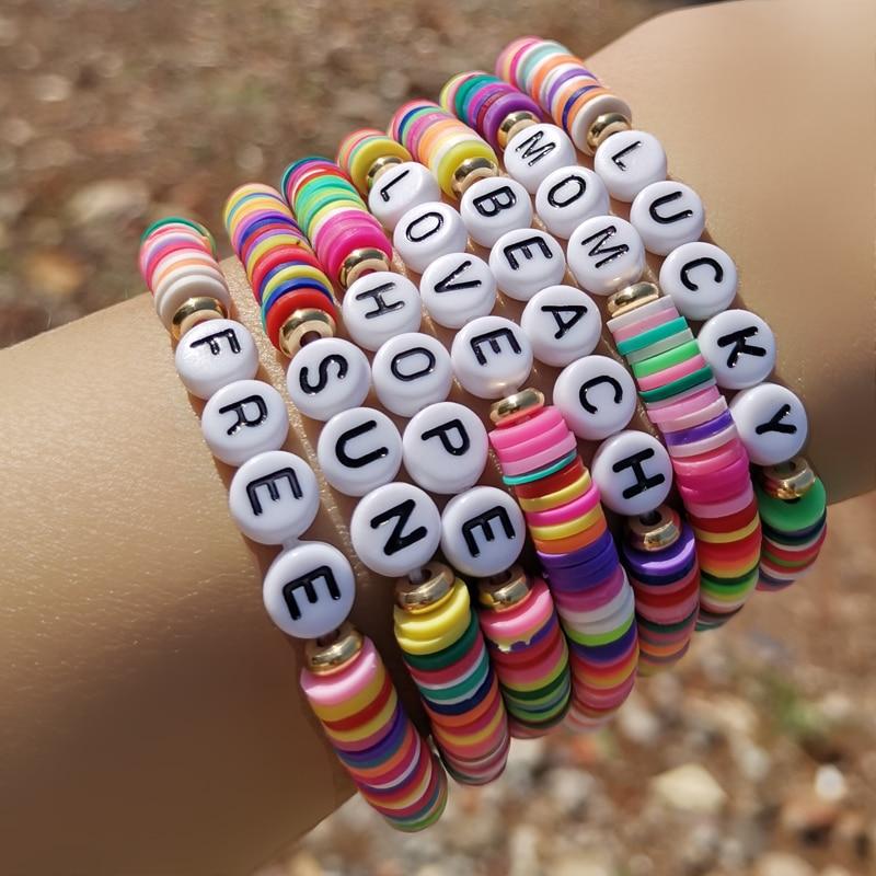 DIY Letter Polymer Clay Bracelet For Women Boho Handmade Love Beads Charm Bracelet Summer Femme Jewelry