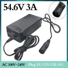 1pc commercio allingrosso di sostegno 54.6V 3A caricatore 54.6V 3A bicicletta elettrica carica batterie al litio 48V batteria Al Litio pacchetto XLR 54.6V3A
