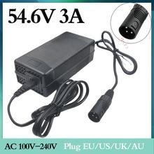 1pc support wholesale 54.6V 3A charger 54.6V 3A electric bicycle lithium battery charger 48V Lithium battery pack  XLR 54.6V3A