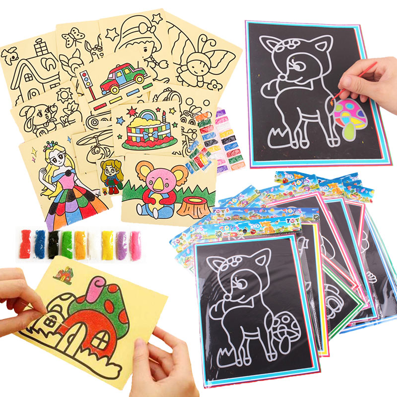 20Pcs/10Pcs Magic Scratch Art Doodle Pad Sand Painting Cards Early Educational Learning Creative Drawing Toys For Children