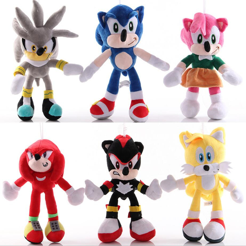 6 Styles Sonic Toys 18-30cm Sonic Shadow Amy Rose Knuckles Tails Plush Toys Soft Stuffed Peluche Dolls Gift For Kids'