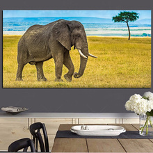 Lonely Elephant African Wild Animals Canvas Painting Scandinavian Posters and Prints Cuadros Wall Art Pictures For Living Room