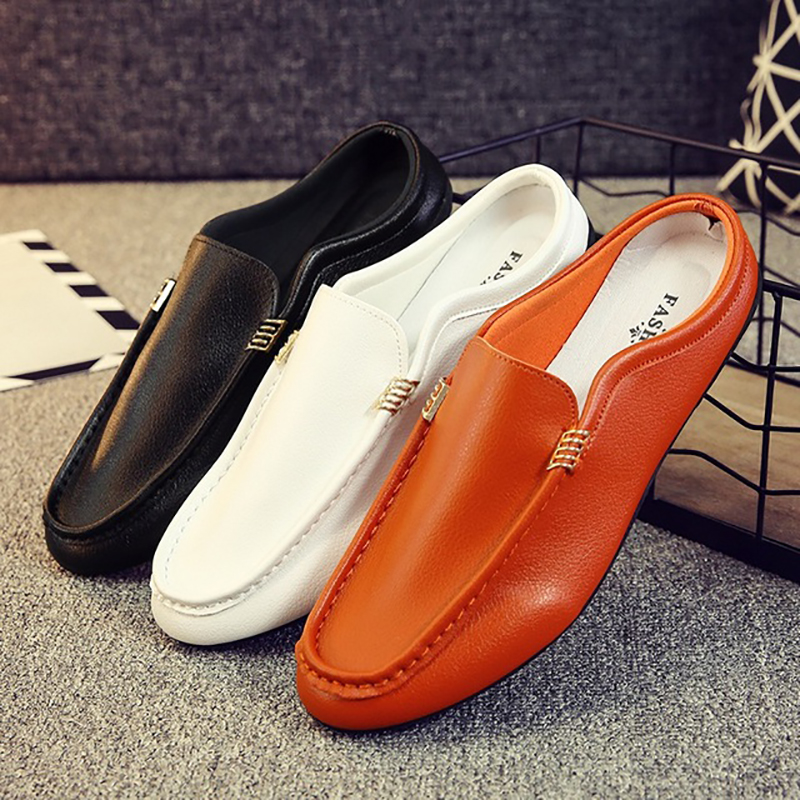 Fashion Men's Casual Shoes Summer Peas Shoes Men Slip On Loafers Half Drag Shoes Men Youth Soft Artificial PU Leather Footwear