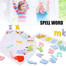 New Alphabet Puzzle Toys With Cards Wooden Letter Spelling Game Interesting Early Educational Toys For Children Jeux Enfant