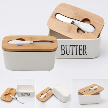 Herramienta selladora plato de cocina de estilo nórdico con tapa de madera recipiente de queso caja de mantequilla bandeja de almacenamiento de alimentos de cerámica plato