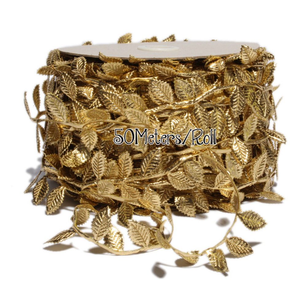 50meters/Roll DIY Gold Lace Leaf Trim Silver Leaves Stretch Ribbons DIY Wedding Decoration Apparel Sewing