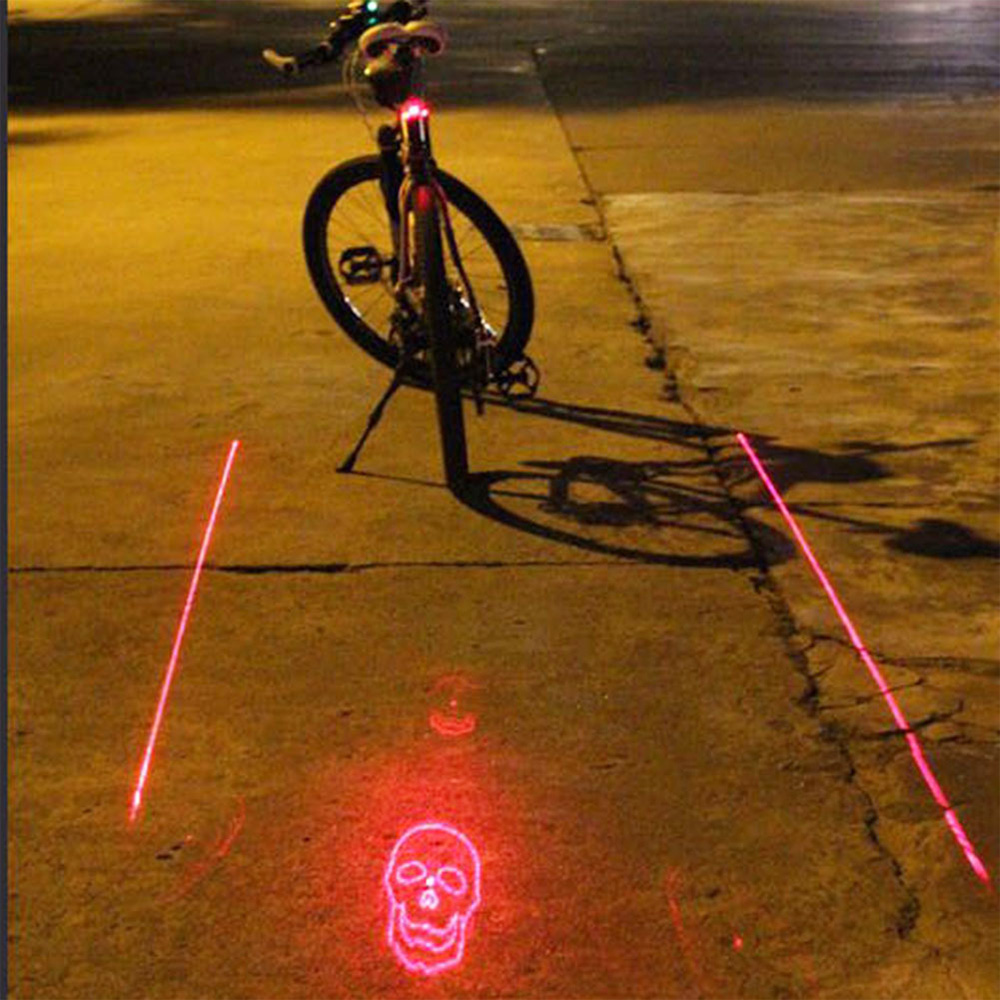 RD-1 85x55x45mm Bicycle Projection Tail Light 5LEDs 2 Laser Light For Bike Projection Version Bicycle Rear Tail Lamp Clerance