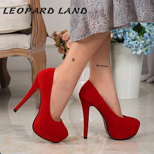LEOPARD LAND 2020 New Super High Heel Women's Shoes Waterproof Platform Single Shoes Hate High Sexy 14 Cm Large Size High Heels