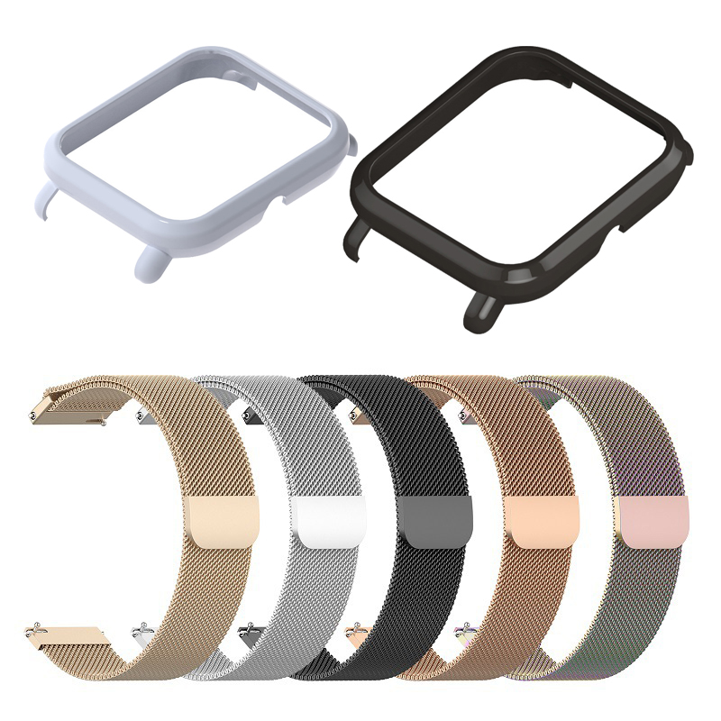 2in1 For Amazfit Bip Strap Metal With Case Bracelet For Huami Amazfit Bip Band Protector Bumper Strap Smart Watch Accessories