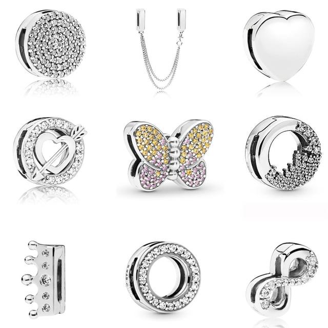 Настоящее серебро 925 пробы, Ослепительная подвеска на зажиме, круглая Хрустальная корона, сердечко, бусины, подходят к оригиналу Pandora, женски...