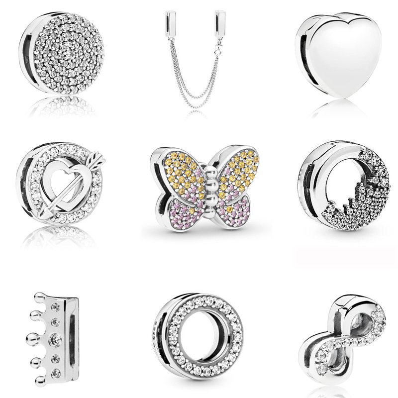 Real 925 Sterling Silver Reflections Dazzling Clip Charms Round Crystal Crown Heart Beads Fit Original Pandora Women Bracelet