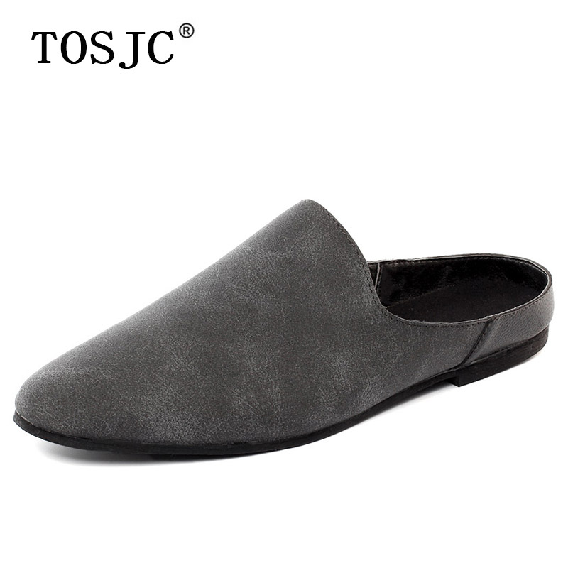TOSJC Hot Sale Mens Half Loafers Summer Lightweight Half Slippers Outdoor Half Shoes For Male Fashion Breathable Non-slip Mules