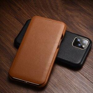 Image 1 - Flip Lichee Muster Rindsleder Fall Für iphone Xs 11 Pro Max MYL 32W Luxus Folio Leder Fall Abdeckung Für iphone XR 8 Plus