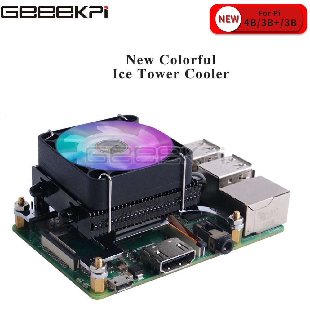GeeekPi Black Low-Profile Ice Tower Cooling Fan Super 7 Colors RGB Changing Light with Bracket for Raspberry Pi 4B / 3B / 3B+