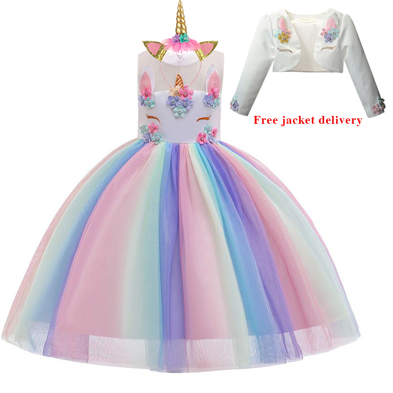 Hd79ea8fec0ee454a9f5190b6be984b173 New Unicorn Dress for Girls Embroidery Ball Gown Baby Girl Princess Birthday Dresses for Party Costumes Children Clothing