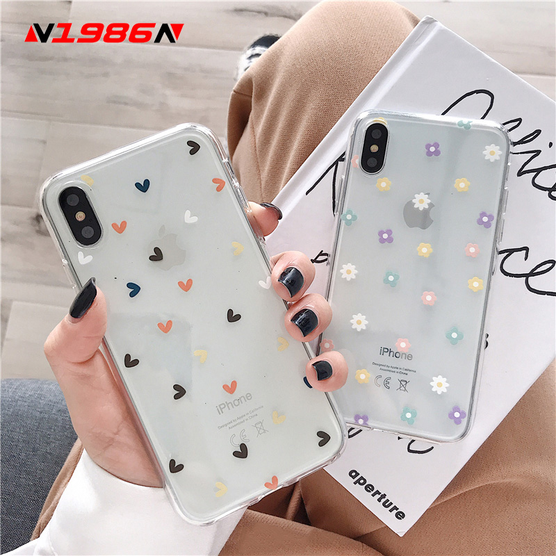 N1986N Soft Clear Phone Cases For iphone X XS Max XR 6 6S 7 8 Plus Case Floral Love Heart Transparent Silicone For iPhone X Case