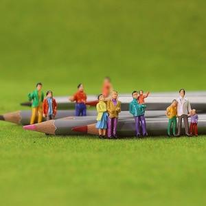 Image 1 - 100Pcs HO Scale Painted Figuresคน1:87ชุดรถไฟยืนผู้โดยสารAssorted Pose P100W