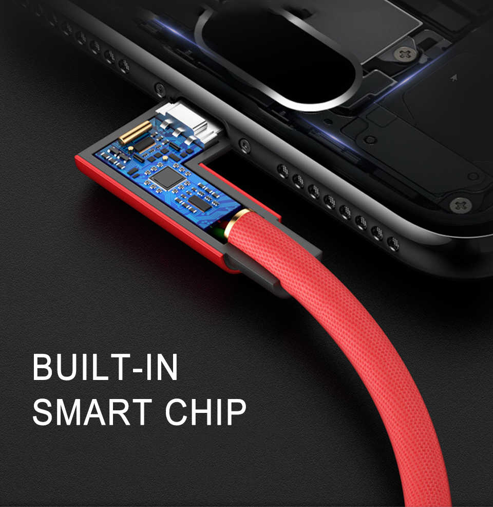 Cepat Pengisian Kawat USB Micro Ponsel Kabel Nilon Menenun 90 Derajat Kabel Data dengan untuk Android Xiaomi Samsung Vivo 1M 2M