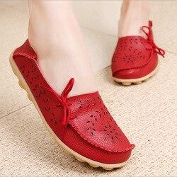 Mulheres apartamentos sapatos de couro genuíno deslizamento em mocassins mulher macio enfermeira bailarina sapatos plus size 35-44 casual sapato feminino