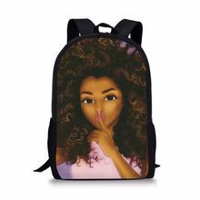 HaoYun Kids School Backpack Black African Girls Prints Pattern Book Bags Afro Arts Design Teenagers