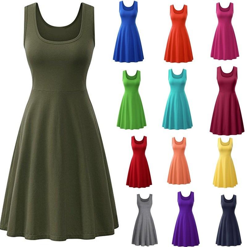 Платье женское ТРАПЕЦИЕВИДНОЕ с квадратным вырезом, пикантный однотонный Повседневный красный сарафан без рукавов, с высокой талией, разны...