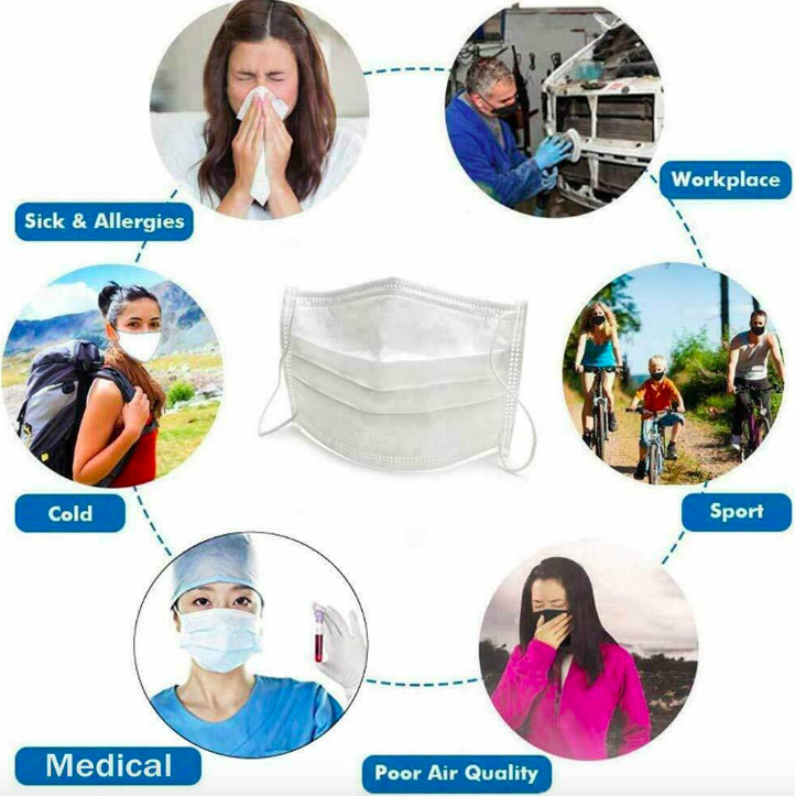 Image 5 - 50 Pcs 3 Layer Disposable Medical Protective Face Mouth Masks 
