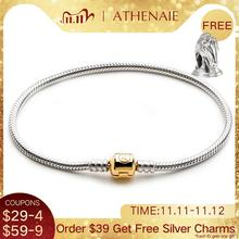 ATHENAIE 925 Sterling Silver Snake Chain Bracelet With the Lock Color 18kt Gold For Charm Bracelets & Bangles Jewelry Diy