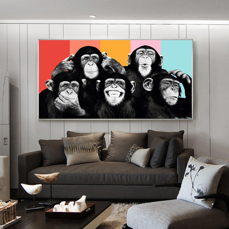 Funny Monkeys Graffiti Canvas Paintings On The Wall Posters And Prints Modern Animals Wall Art Canvas Pictures Kids Room Decor