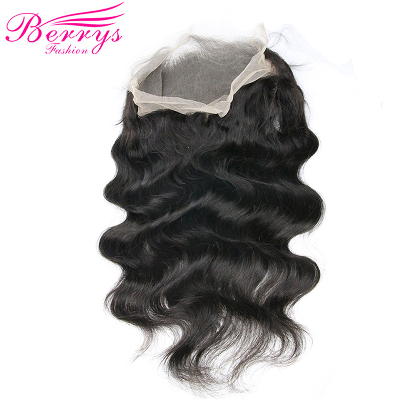 Body-Wave Frontal Virgin-Hair TRANSPARENT Berrys Fashion Pre-Plucked Bleached with Adjustable