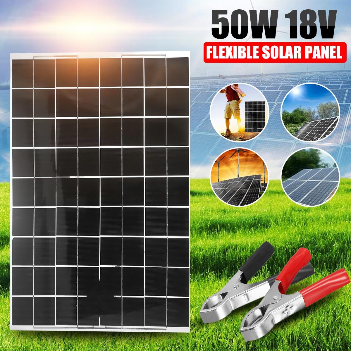 Panneau solaire Flexible Portable 18V 50W grande batterie en silicium polycristallin Mini système solaire voiture Rood Marine chargeur extérieur