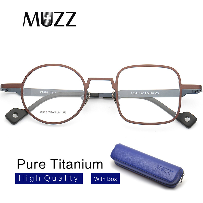 Pure Titanium Myopia Optical Frames Men Asymmetric Eyewear Tony Stark Frame Round&Square Designer Prescription Glasses Frame