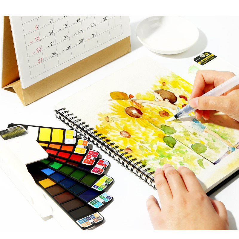 18/25/33/42 Colors Pigment Paints Sets With Water Brush Painting Watercolors Drawing Solid Watercolor Set