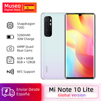 Global Version Xiaomi Mi Note 10 Lite Mobile Phones 6GB 64GB 64MP Quad Camera 6.47'' Curved AMOLED Screen 5260mAh 30W QC