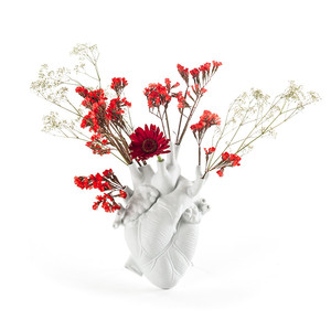 Jarrón de corazón de cerámica blanca italiana Seletti, florero de oro creativo para sala de estar, decoración de hogar para colgar en la pared, accesorios M4035