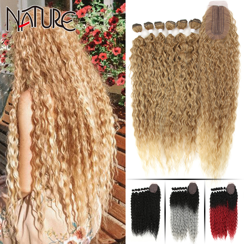 Doğa saç Afro Kinky kıvırcık saç uzatma eklentileri kapatma ile Ombre altın 30 inç yumuşak süper uzun saç sentetik dalga saç