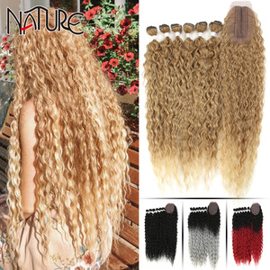 Nature Hair Afro Kinky Curly Hair Bundles Extensions With Closure Ombre Golden 30inch Soft Super Long Hair Synthetic Wave Hair