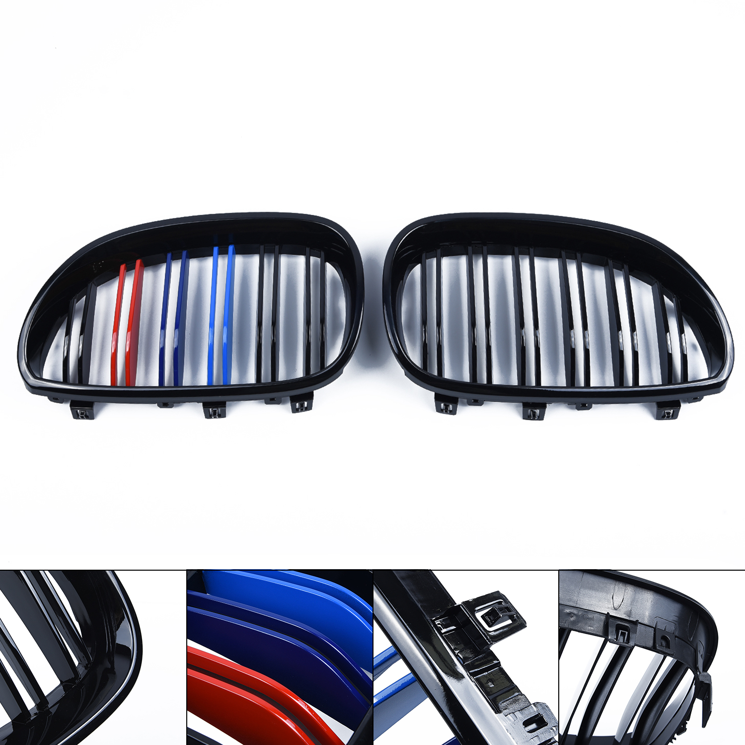 Fit For <font><b>BMW</b></font> 5 Series E60 <font><b>E61</b></font> Gloss Black Kidney Euro Sport Front Grill 03-10 Hot image