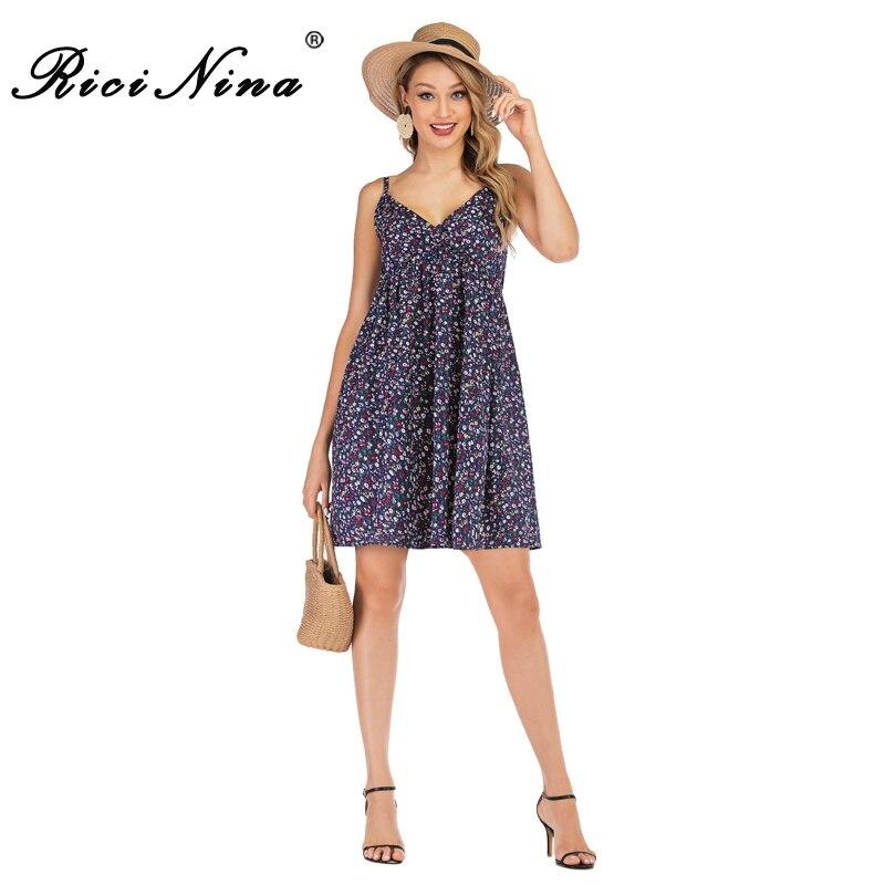 RICININA New Ladies Summer Dress Women V Neck Sleeveless Boho Floral Print Sexy Mini Elegant Party Short Casual Dresses
